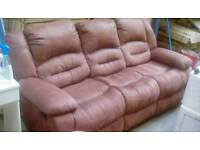 Brown Suede 3&2 Seater Recliner Suite