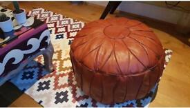 Moroccan leather pouffe 100% lamb soft leather. Mustard