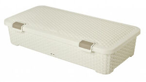 Curver Cream Rattan Style Underbed Storage Box With Wheels 42L designer