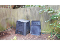 Composter square black slatted plastic - very efficient, yet cheap