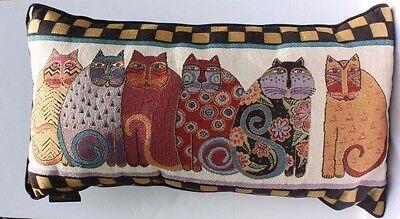 Laurel Burch Feline Cat Friends Decorative Tapestry Throw Pillow