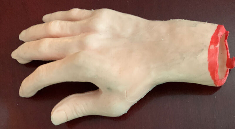 Vintage Halloween Giant Rubber Dismembered Fake Hand Blood On Wrist Hong Kong