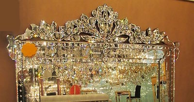 "NEW STUNNING LARGE ORNATE BEVEL ETCH VENETIAN ENGRAVE BUFFET WALL MIRROR 59""W"