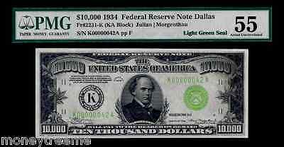 "FR 2231K $10,000 1934 GRADED PMG 55! ""LIGHT GREEN SEAL""! TWO DIGIT #42 FEDERAL"