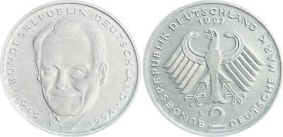 2 DM 1997 A  , J.459 Brandt, Aluminiumabschlag, 2,44g ohne Randschrift prfr.