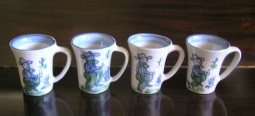 Set of 4 Mary A. Hadley Stoneware COWBOY Mugs ADIOS EXC!