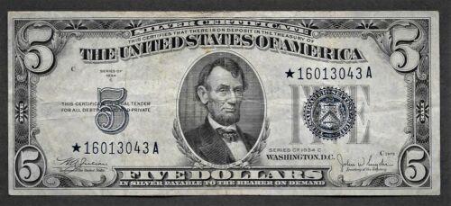 1934C $5 Silver Certificate - STAR NOTE