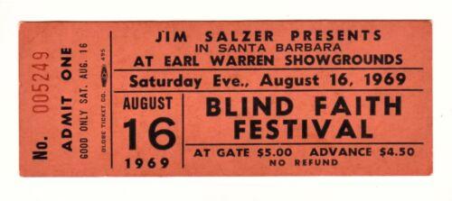 BLIND FAITH Original1969 UNUSED CONCERT TICKET CLAPTON & WINWOOD