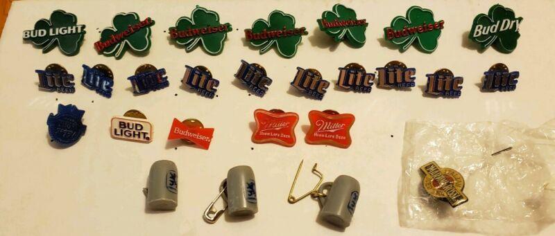 Vintage Beer Pin Lot Lapel~Budweiser~Bud Lite Dry~Miller~Breweriana