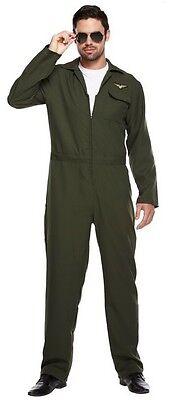 Streitkräfte Piloten Overall Kostüm Kleid Outfit Std XL (Aviator Pilot Kostüm)