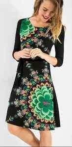 Desigual Ladies Dress, Duck, Boat Neck, Black&Multi,Size M