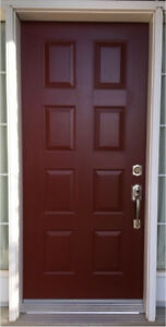 "36"" Entrance Door - Steel Insulated - Lock Set - 8 Panel Design"
