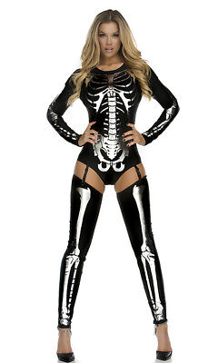 Forplay Snazzy Skeleton Sexy Bodysuit Adult Womens Halloween Costume 554640 - Womens Skeleton Costume Bodysuit