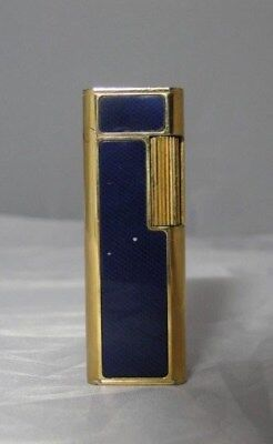 Lighter Dore And Blue Myon Paris Made In France 280355 Silex Vintage  D337
