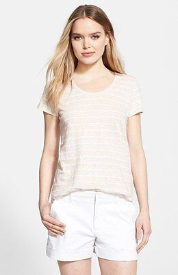 NWT $115 VINCE LINEN BLEND PAPYRUS ROUND NECK STRIPE TEE SHIRT TOP NEW SZ: SMALL