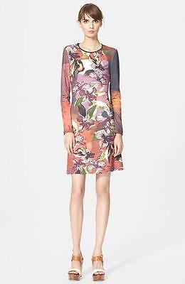 NWT Clover Canyon Autumn Lilies Floral Print Stretch Fitted Art Deco Dress Small Art Deco Floral Print