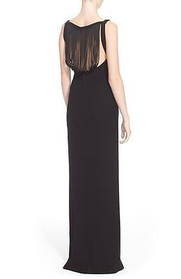 Versace Collection Fringe Back Black Gown Size 40 US 4 $2195
