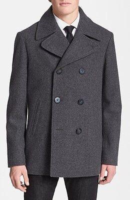 WALLIN & BROS Mens Wool Peacoat Grey Melange Fashion Jacket Coat Medium NWT $295