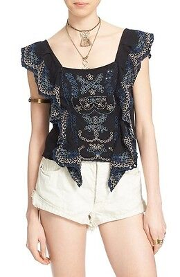 Free People Shake Baby Shake Embroidered Ruffle Top Small   Nordstrom  98 00