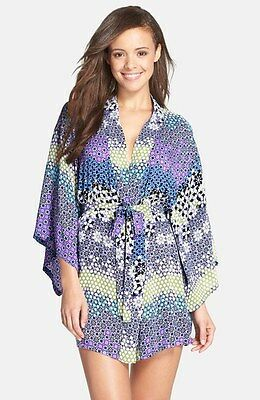 NEW JOSIE BY NATORI $68 MIDNIGHT BLUE SASHA HAPPI COAT WRAP ROBE SZ M MEDIUM