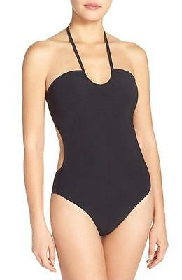NWT NEW Tory Burch Black Solid Bandeau One Piece Swimsuit Small $215 ma12
