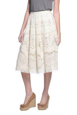 NWT S Ivory Cream Champagne & Strawberry Circle Lace Midi Skirt - Lace Circle Skirt