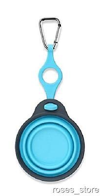 NEW Blue Bottle Holder with Travel Cup Bowl for Dogs with Carabiner by Dexas