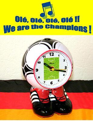 Wecker Fußball mit Füßen Musik Hymne Sound WM Fan Kinderwecker - Atlanta 1181 (Wecker Mit Musik)