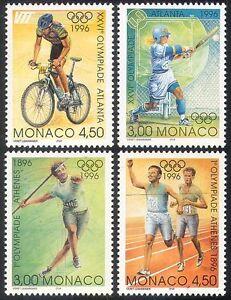 Monaco-1996-Olympic-Games-Olympics-Sports-Cycling-Baseball-Bikes-4v-set-n41077