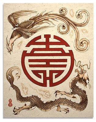 Dragon Phoenix Art Print Shou Symbol Asian Wall Decor