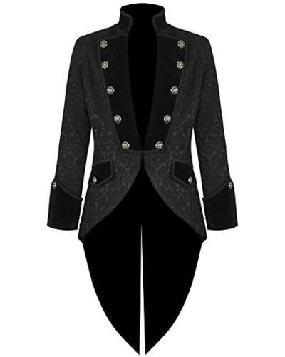Handmade Men Tail coat Jacket Black Brocade Goth Steampunk Victorian /Tailcoat