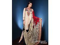Pakistani Salwar Kameez - Khaadi Collection (Cream) - Stitched