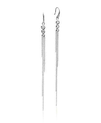 NEW MICHAEL KORS SILVER TONE,BRILLIANCE FRINGED CHAINS,CRYSTAL,EARRINGS MKJ5853