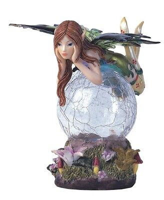 "5"" Inch Green Fairy LED Light Crystal Ball Fantasy Decoration Statue Figurine"