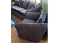 DFS GREY SOFA AND ARM CHAIR