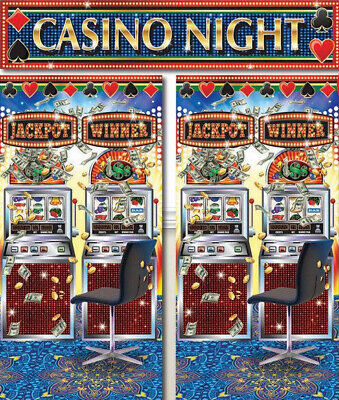 CASINO Scene Setter gambling party wall decoration photo backdrop slot machines - Casino Party Decor