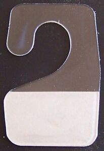 100 NEW CLEAR PLASTIC SELF ADHESIVE STICK HOOK HANG TABS TAG HANGERS 12OZ LIMIT