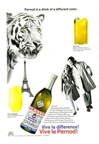 1966 Pernod PRINT AD Great Vintage artwork features Couple Tiger & Eiffel Tower