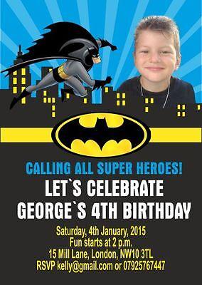 10 x Personalised Children Photo Birthday Invitations or Thank you Cards BATMAN](Batman Photo Invitations)