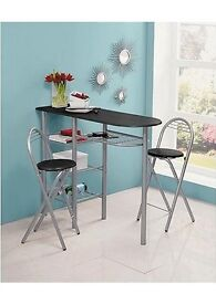 Used Breakfast bar with stools and wine rack