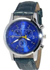 New Mens Geneva Three Eye Six Pin Crystal Men Watch Blue