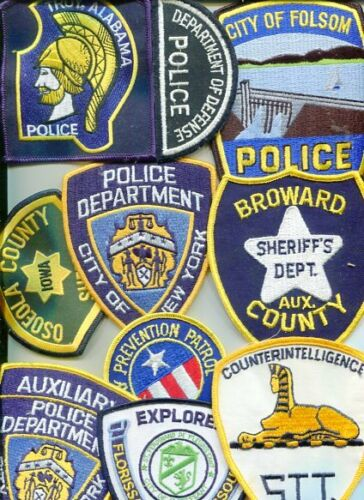Lot of 10 Vintage full size Police Patches-mixed lot NO-2