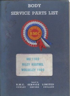 MG RILEY WOLSELEY 1100 MK1 SALOON (1962-65) FACTORY BODY & TRIM PARTS CATALOGUE