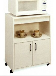 White Microwave Stand with Shelf and Cabinets
