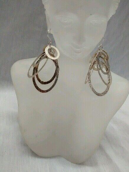 Mexico sterling silver  925 modernist hoop earrings