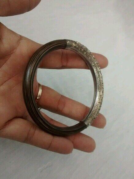 antique Chinese silver dragon motif rattan  bangle bracelet