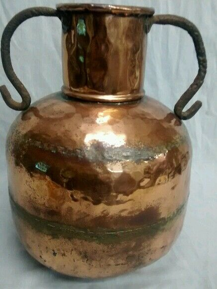Antique hand hammered copper jug iron handle dovetail seamed pot bowl vase