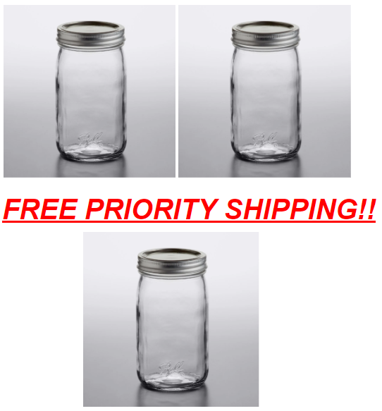 3 - 32oz Quart Wide Mouth Ball Individual Canning Jars *FREE