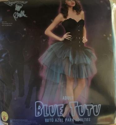 BRAND NEW Tulle Skirt Tutu Tiered BLACK AND BLUE Burlesque Vampire COSTUME - Blue Burlesque Costumes