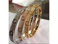 Cartier 18k love bracelets full paved with crystals silver gold and rose gold